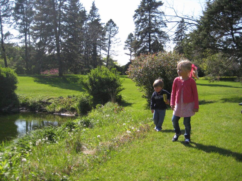 Kids near pond